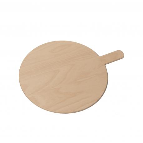 Tagliere servipizza tondo in multistato di faggio con manico (rifinito con trattamento per alimenti)